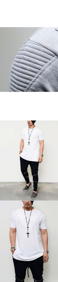 Tops :: Embossed Seaming Arm Loose Fit Round-Tee 390 - Mens Fashion Clothing For An Attractive Guy Look