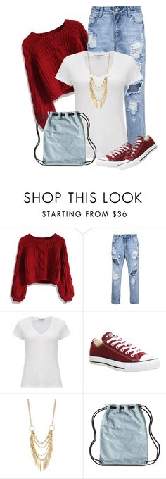 """""""White Tee for Fall"""" by soleuza ❤ liked on Polyvore featuring Chicwish, James Perse, Converse, Panacea and impressive"""