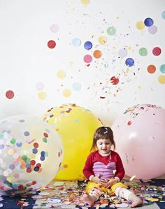 Giant balloons with confetti by Poppies For Grace