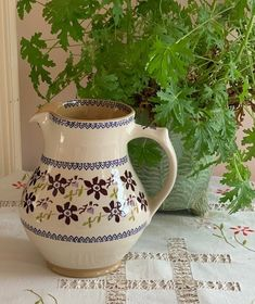 Celebrate Spring with this large jug,—good for gatherings, watering plants, holding flowers, or just dressing up a windowsill. And the clematis pattern is right in step with the season! Country Shop, Country Style, Watering Plants, Holding Flowers, Soft Purple, Window Sill, Clematis, Flower Petals, Life Is Beautiful