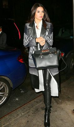 Kendall Jenner wearing Long white shirt + leather pants + black booties + coat