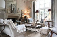 Aidan Gray designed family room. Muted tones & contemporary touches combined with old world elegance.