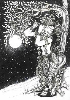 Unfortunately, our relationship with Govinda has not yet developed. Krishna Drawing, Krishna Painting, Krishna Art, Krishna Images, Radhe Krishna, Lord Krishna, Black Canvas Paintings, African Art Paintings, Mandala Art Lesson