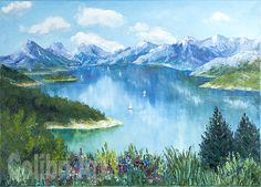 """Author's reproduction (giclee) of Original Oil Painting """"And the light wind rustling"""" 20"""" x 27,5"""" on Canvas by Colibri Art Prints Giclée interior gift present impressionism mountains landscape lake flowers nature reproduction giclee art print on canvas blue green"""