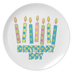 Birthday Boy Polka Dot Candle Plate