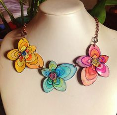 "Polymer clay, ""Butterflowers"" necklace 