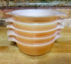 Vintage Anchor Hocking Fire King Oven Ware Peach Luster Ware Bowls 472  12oz, Set of 5 by CottonTopVintage on Etsy