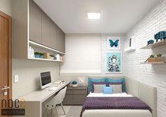 Quarto com paleta sóbria, mas atual. A parede de tijolos traz modernidade e na cor branca fica harmônica com os demais móveis, inclusive a cabeceira acolchoada em L. Autoria: @noc3arquitetura Post por: Carolina