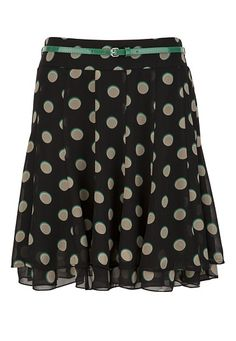Belted Polka Dot Chiffon Skirt available at #Maurices