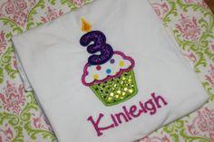 3 Cupcake Birthday Shirt by RuffledRoseBowtique on Etsy, $17.99
