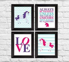Nursery art prints unicorn girls art by RainbowsLollipopsArt