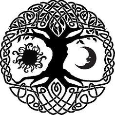 Celtic tree of life with sun and moon tattoo idea. Since I'm a wee bit Irish :)                                                                                                                                                                                 Plus