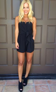 Wired In Strapless Romper - BLACK