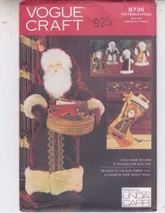 Vogue Father Christmas Card Holder Doll Stocking Ornaments Sew Pattern 8735  #Vogue8735 #FatherChristmascardholder