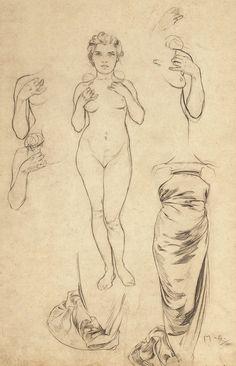Art Nouveau, Art Sketches, Art Drawings, Pencil Drawing Inspiration, Alphonse Mucha Art, Human Anatomy Drawing, Artist Sketchbook, Pop Art, Greek Art