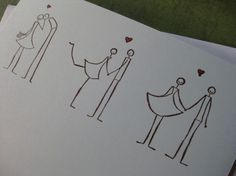 "Three Stick Figure Couples in Love with ""Congratulations"" - Handmade Eco-Friendly Greeting Card"