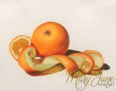 'Orange' a Colored Pencil Drawing by MaryJane Sky of www.maryjanefineart.com