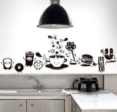 happy food Wall Painting Decor, Mural Wall Art, Diy Wall Art, Wall Decor, Kitchen Wallpaper, Wallpaper Decor, Kitchen Wall Stickers, Kitchen Wall Art, Funny Home Decor