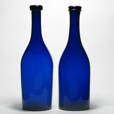 Pair of Blue Glass Serving Bottles c1840