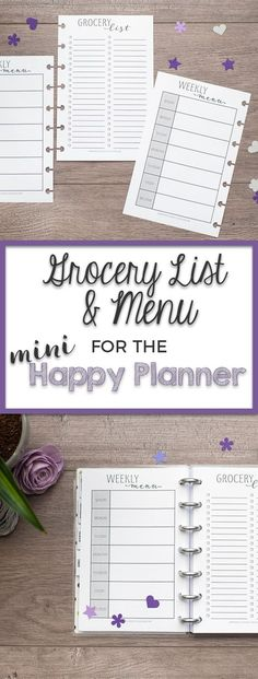Planning meals is one of the best ways to save time and money. With these sheets you can plan out your weekly menu and make your grocery list at the same time. These inserts are printed on premium 32# paper ensuring that they will be great for your favorite pens, stamps and washi!   You will receive inserts printed front and back (grocery list is printed on the front and menu is printed on the back).