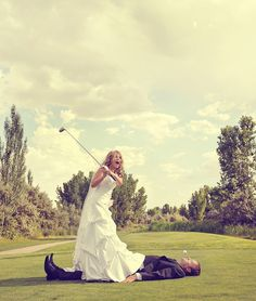 Nothing like a bride embracing her two loves: her husband and golf