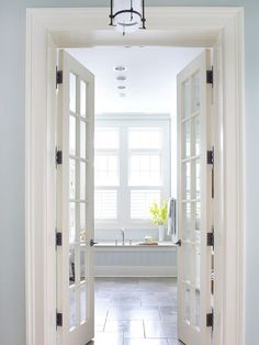 love these doors, but might put in frosted glass instead for some privacy while still letting in light