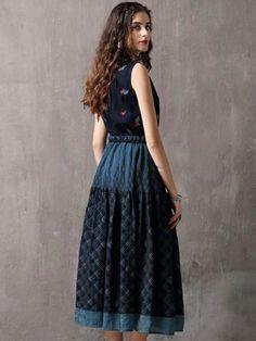 Embroidery Turn-Down Collar Sleeveless Maxi Dress