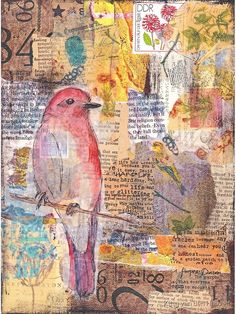 'Mixed media collage bird' Metal Print by Kitty van den Heuvel -You can find Kitty and more on our website.'Mixed media collage bird' Metal Print by Kitty van den Heuvel - Collage Kunst, Paper Collage Art, Collage Art Mixed Media, Mixed Media Canvas, Mixed Media Painting, Mixed Media Artists, Collage Book, Art Collages, Canvas Collage
