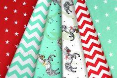 Red & mint horses chevron & stars cotton fabric set / Zestaw koniki