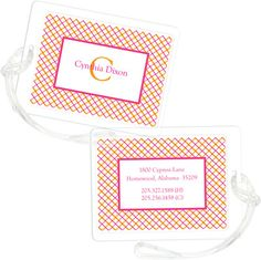 Citrus Mad for Plaid Luggage Tags