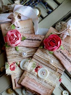 Vintage Tags - such a great way to use leftover pieces of paper, lace, buttons, etc. to make one-of-a-kind tags - via Stipje