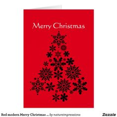Red modern Merry Christmas Greeting Card with tree. #christmas #xmas #holiday #merry #card #tree