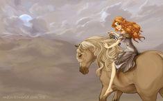 Malon, a Zelda character, riding a palomino.