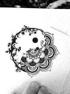 Not sure about it as a logo but i love the concept of it (yin yang/mandala) Yin Yang Tattoos, Yin Yang Designs, Yin Yang Art, Geniale Tattoos, Mandalas Drawing, Sweet Tattoos, Mandala Tattoo, Future Tattoos, Skin Art
