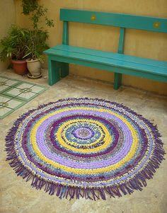 Purple and yellow - hand crocheted rag rug   1.20 in diamete…   osnat ganor   Flickr