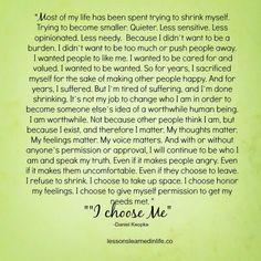 I choose me...