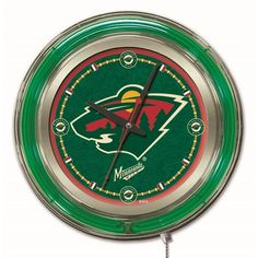 [[start tab]] Description The Minnesota Wild NHL 15-Inch Neon Logo Clock is the perfect way to show your team pride. Chrome casing and a Wild neon ring accents a custom printed clock face, lit up by a