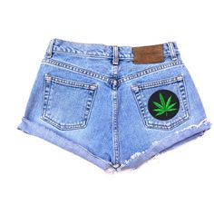 High Waisted Vintage Denim Shorts With Weed Leaf ($24) ❤ liked on Polyvore