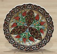 Turkish Traditional Hand made ,Hand Painted iznik Ceramic Floral Design Red Tulips Plate Wall, Plates On Wall, Turkish Plates, Hanging Plates, Shops, Red Tulips, Charger, Floral Design, Decorative Plates