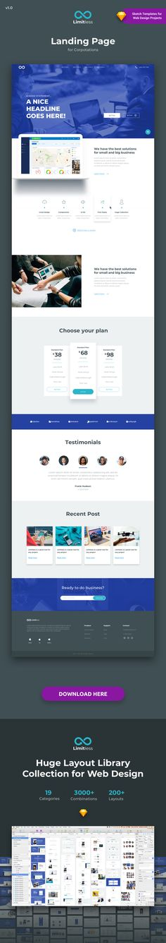 Limitless is a Huge Layout Collection and UI Kit Library for Web Design Projects that contains a great number of components that fit together perfectly for Sketch App. This library consists of 200+ ready-to-use layout sections divided into 19 popular content categories. Include layouts on: Testimonials, Ecommerce, Blog, Slider, Portfolio, Header, Price Table, Features, Benefits, How it works, Footer, FAQ, News, Metrics and Contact.