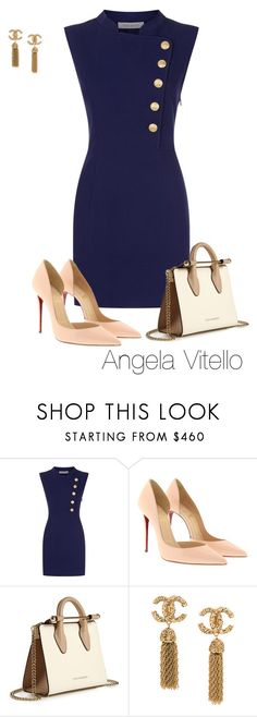 """Untitled #1114"" by angela-vitello on Polyvore featuring Pierre Balmain, Christian Louboutin and Strathberry"