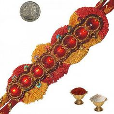 Indian Traditional Mauli Rakhi Gift to Brother Festivals Of India, Rakhi Gifts, Costume Dress, Incredible India, Cincinnati, Crochet Earrings, Brother, The Incredibles, Indian