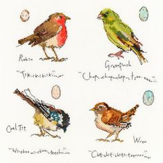 This counted cross stitch design is called Garden Birds 1 and features a robin, greenfinch, cool tit and a wren. The kit is developed from artwork by watercolour artist Madeleine Floyd. The kit contains 14 count white Zweigart Aida fabric and stranded cottons on a loaded thread organiser,