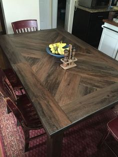 Wood Plank Table Top Diy Dining Rooms Ideas room ideas on a budget dining room ideas room ideas modern room room ideas apartment room ideas diy Farmhouse Dining Room Table, Diy Dining Table, Dinning Room Tables, Dining Table Design, Dining Room Furniture, Dining Rooms, Furniture Design, Dining Area, Kitchen Dining