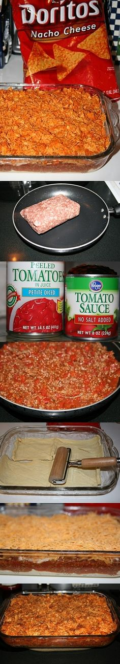 Taco Bake with doritos. this sounds so dirty and delicious! Beef Recipes, Mexican Food Recipes, Cooking Recipes, I Love Food, Good Food, Yummy Food, Tapas, Great Recipes, Favorite Recipes