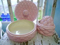 80s vintage Vanity dresser Dishes trinket pink by Groovintuesday, $12.50