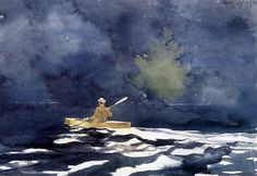 Paddling at Dusk Winslow Homer (American, Watercolor with graphite on wove paper, x cm. Memorial Art Gallery, Rochester, New York Watercolor Landscape, Watercolor And Ink, Watercolor Paintings, Watercolors, Tree Paintings, Watercolor Techniques, Memorial Art Gallery, Winslow Homer Paintings, Art Sur Toile