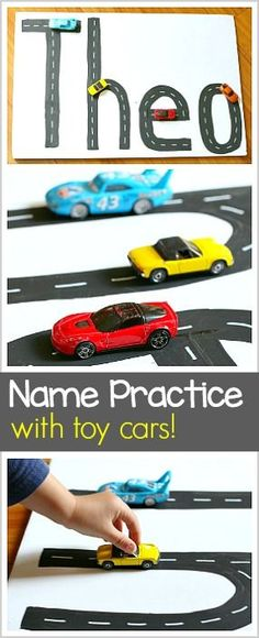 Name Practice Activity Using Toy Cars- Perfect alphabet or ABC activity for kids who love Hot Wheels! ~ BuggyandBuddy.com