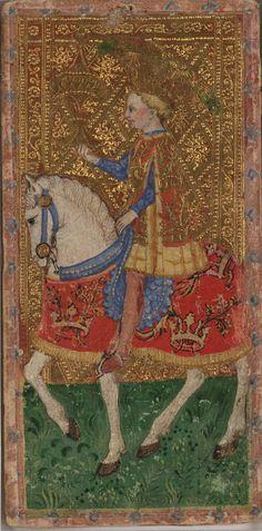 Knight of Cups -- Cary-Yale Visconti Tarot Deck, Italy, ca 1441
