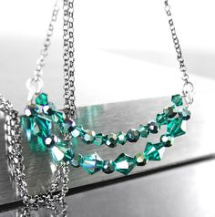 Dainty Emerald Crystal Necklace Sterling Silver by DorotaJewelry